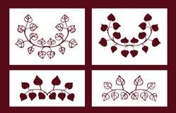 Grupo de estêncis Elementos florais do vetor Fotos de Stock