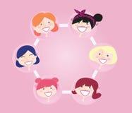 Grupo de establecimiento de una red de las mujeres stock de ilustración