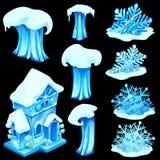 Grupo de estatuetas do gelo isoladas no fundo preto ilustração royalty free