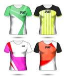 Grupo de estilo do t-shirt do molde do jérsei do futebol ou do futebol, projeto Fotografia de Stock