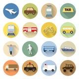 Grupo de estilo liso do ícone do transporte com sombra longa Fotografia de Stock Royalty Free