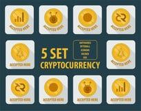 Grupo de estilo liso do cryptocurrency diferente em um fundo branco ilustração do vetor