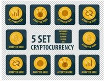 Grupo de estilo liso do cryptocurrency diferente em um fundo escuro ilustração royalty free