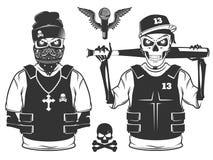 Grupo de estilo preto e branco de esqueleto do crânio e do hip-hop da batida Foto de Stock