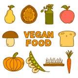 Grupo de estilo tirado moderno dos ícones à disposição no vegetariano Foto de Stock