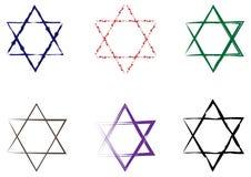 Grupo de estrelas de David pintadas com uma escova Seis elementos isolados Fotos de Stock
