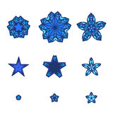 Grupo de estrelas, flocos de neve Ícone da estrela no estilo liso do projeto ilustração stock