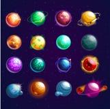 Grupo de estrelas ou de planetas isolados do cosmos ilustração do vetor