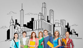 Grupo de estudantes adolescentes com dobradores e sacos ilustração do vetor