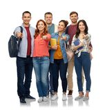 Grupo de estudantes com livros e sacos de escola imagem de stock royalty free