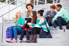 Grupo de estudantes da High School que sentam-se fora da construção Imagem de Stock