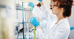 Grupo de estudantes da química que trabalham no laboratório fotos de stock royalty free