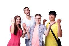 Grupo de estudantes entusiasmado Fotos de Stock