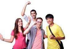 Grupo de estudantes entusiasmado fotos de stock royalty free