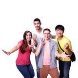 Grupo de estudantes entusiasmado fotografia de stock