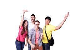 Grupo de estudantes entusiasmado imagens de stock