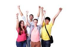 Grupo de estudantes entusiasmado imagens de stock royalty free