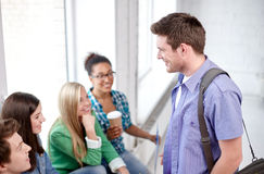 Grupo de estudantes felizes ou de colegas da High School Imagem de Stock Royalty Free