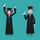 Grupo de estudantes graduados felizes ilustração stock