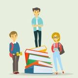 Grupo de estudantes isolado no branco Caráteres da universidade Estudantes com livros Ilustração do vetor ilustração do vetor