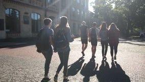 Grupo de estudantes universitário que andam fora video estoque