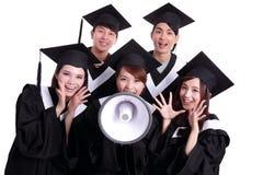 Grupo de estudiante de graduados feliz Foto de archivo libre de regalías
