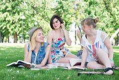 Grupo de estudiante joven que usa el ordenador portátil junto Fotografía de archivo libre de regalías
