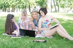 Grupo de estudiante joven que usa el ordenador portátil junto Imágenes de archivo libres de regalías