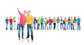 Grupo de estudiantes adolescentes aislados en blanco Fotografía de archivo