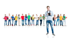 Grupo de estudiantes adolescentes aislados en blanco Fotos de archivo
