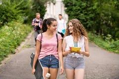Grupo de estudiantes adolescentes atractivos que caminan de universidad Foto de archivo libre de regalías