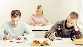 Grupo de estudiantes adolescentes que estudian en la lección Imagenes de archivo