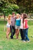 Grupo de estudiantes adolescentes sonrientes felices Imagen de archivo libre de regalías