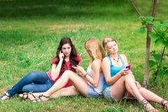 Grupo de estudiantes adolescentes sonrientes felices al aire libre Fotografía de archivo