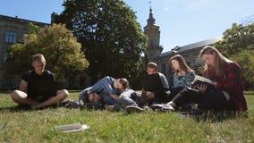 Grupo de estudiantes cansados que estudian difícilmente en césped del parque almacen de video