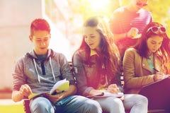 Grupo de estudiantes con los cuadernos en el patio de escuela Fotografía de archivo