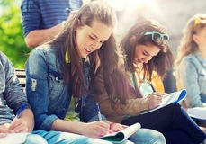 Grupo de estudiantes con los cuadernos en el patio de escuela Imágenes de archivo libres de regalías