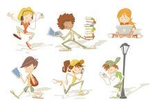 Grupo de estudiantes del adolescente de la historieta ilustración del vector