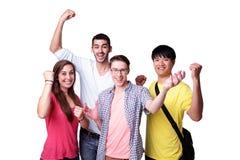 Grupo de estudiantes emocionados Fotos de archivo libres de regalías