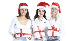 Grupo de estudiantes en el traje de Santa Claus con Christm Imagen de archivo libre de regalías