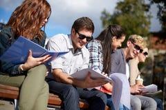 Grupo de estudiantes felices con los cuadernos en el campus Fotos de archivo