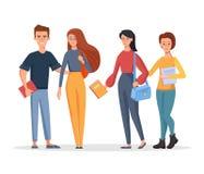 Grupo de estudiantes jovenes que sostienen bolsos y los libros Ejemplo del car?cter del vector en un estilo de la historieta en u ilustración del vector