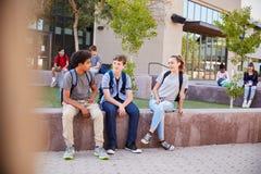 Grupo de estudiantes de la High School secundaria que cuelgan hacia fuera durante hendidura imagen de archivo