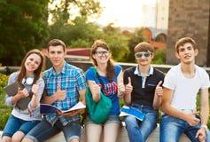Grupo de estudiantes o de adolescentes con los cuadernos al aire libre Foto de archivo libre de regalías