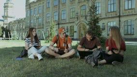 Grupo de estudiantes que comparten las ideas en césped del campus almacen de metraje de vídeo