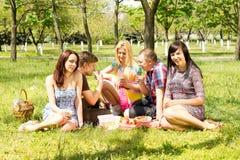 Grupo de estudiantes que disfrutan de una comida campestre del verano Imágenes de archivo libres de regalías