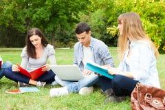 Grupo de estudiantes que estudian al aire libre Imagenes de archivo