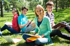 Grupo de estudiantes que estudian junto Fotografía de archivo