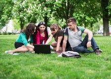 Grupo de estudiantes universitarios jovenes que se sientan en hierba Fotos de archivo libres de regalías