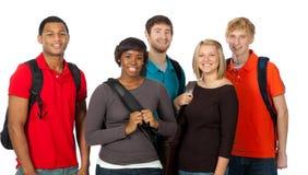 Grupo de estudiantes universitarios multirraciales Imágenes de archivo libres de regalías